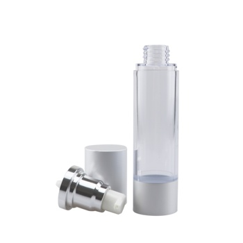 Hot sale 30ml sliver aluminum cap cosmetic containers packaging travel airless pump bottle