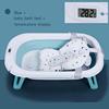 Mavi + bebek banyo yatak + sıcaklık ekran