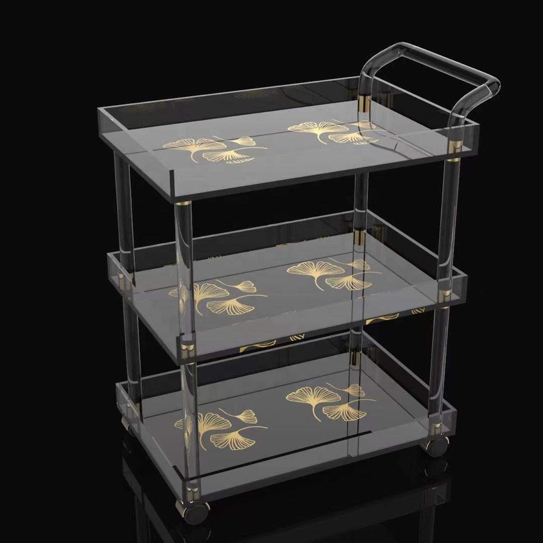 Hot sale custom clear acrylic bar cart