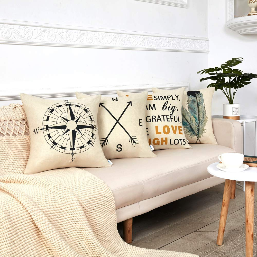 4 Pack Summer Decorations Nautical Arrow Compass Decorative Throw Pillow Covers Cotton Linen Pillow Cases 18 X 18 For Home Sofa Buy Decorative Throw Pillow Covers 18x18 Inches Set Of 4