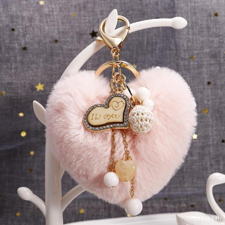 Soft Plush Red  I Love You   Shaped Key Chain Key Rings 4 Included
