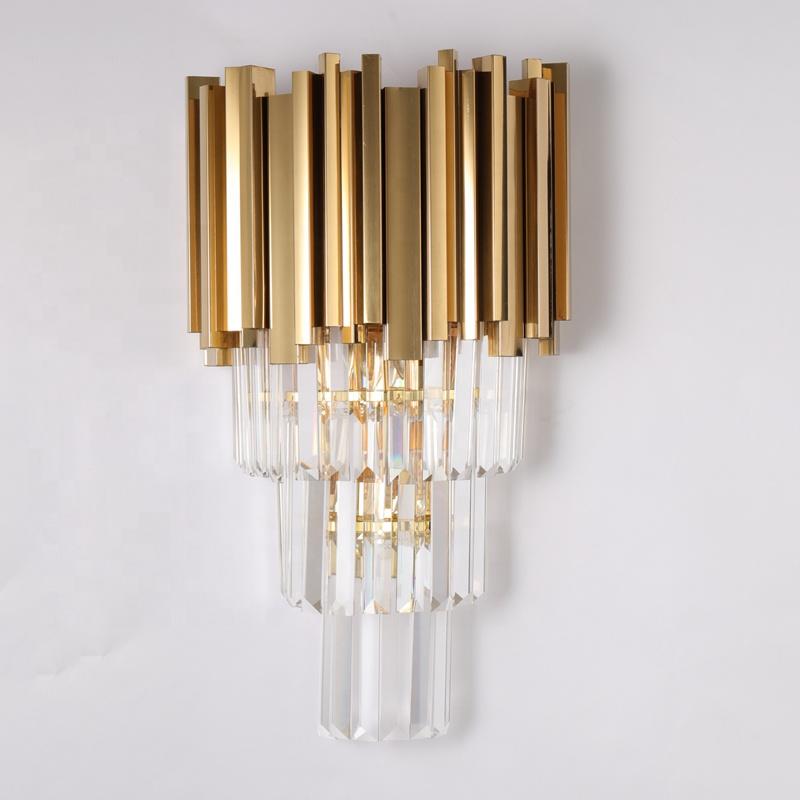 Новый светильник в скандинавском стиле с золотистым фитингом, прикроватное бра для отеля из нержавеющей стали, роскошное освещение, Хрустальная настенная лампа