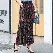Летние повседневные женские богемные широкие брюки с принтом в стиле ретро, пляжные брюки с эластичной резинкой на талии, 2020(Китай)