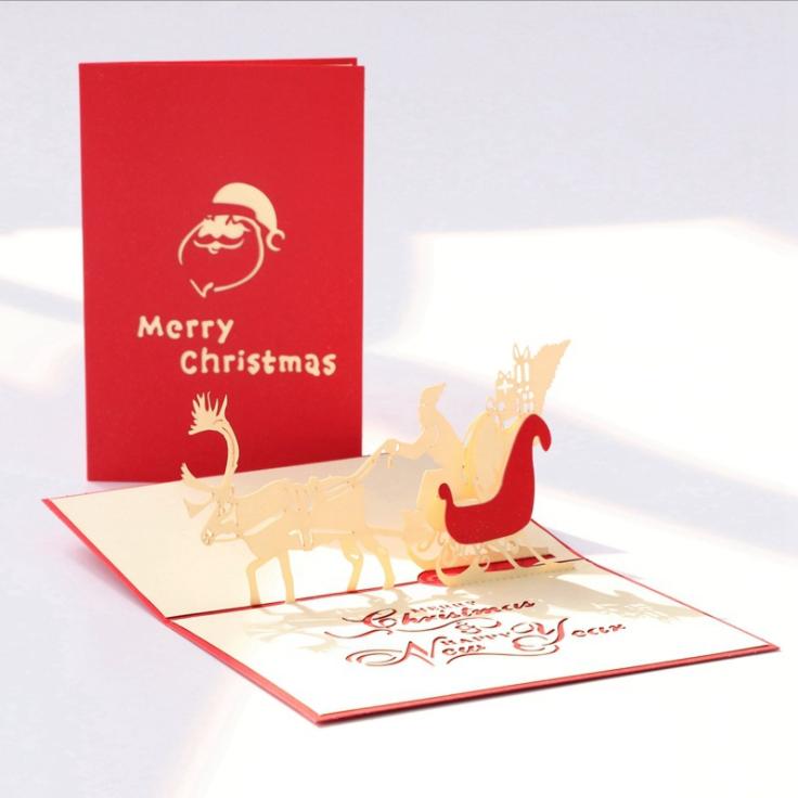 Оптовая продажа от производителя, красивые рождественские поздравительные открытки с принтом, выдвижные поздравительные открытки плюс конверт