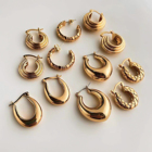 French Retro Vertical Thread Circle Hoops Chunky Hoop Earring Gold Plated Brass Diamond Small Big Huggies Hoop Earrings