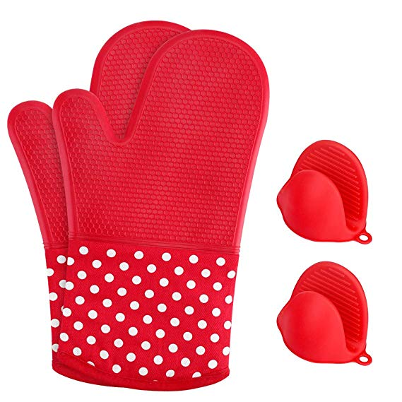 set of 1 pair silicone oven mitts with 1 pair pot holder heat resistant for cooking&baking