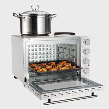 3000W 30L cold rolled steel electric oven rotary oven with 2 hotplate for bread baking