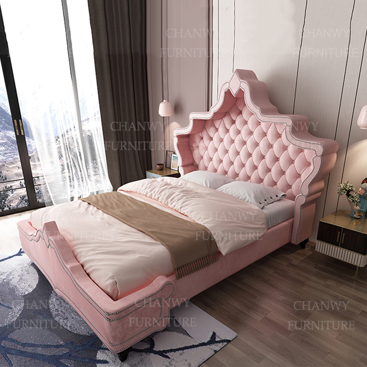 luxurious Handcrafted bed with shelter-style pink princess dream bed with nailhead trim