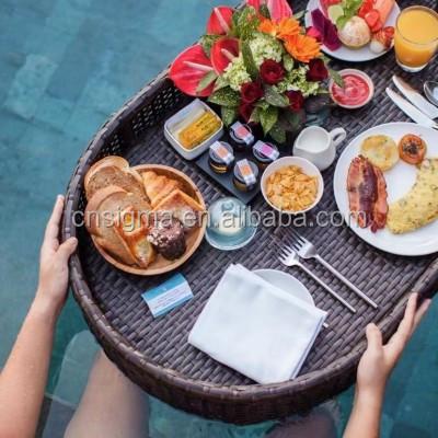 Уличная плетеная корзина для воды для завтрака, плавающий поднос для бассейна