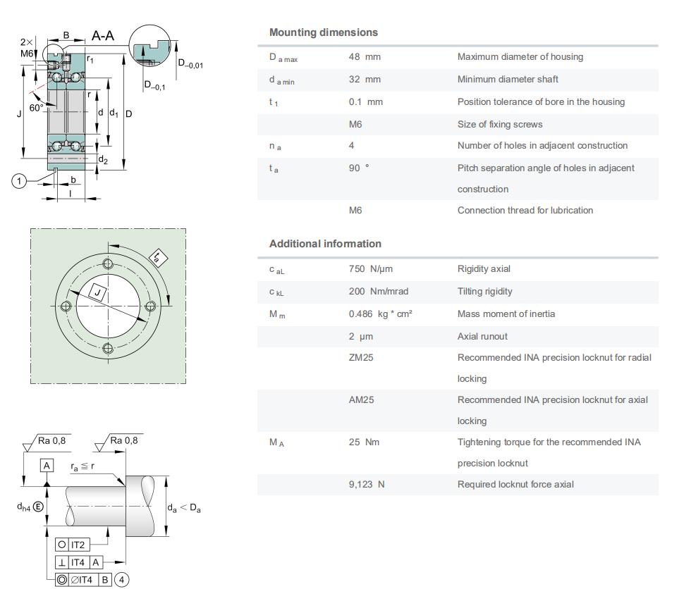ZKLF2575-2RS High precision Axial angular contact ball bearing