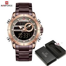 NAVIFORCE мужские военные спортивные наручные часы, золотые кварцевые Стальные водонепроницаемые часы с двойным дисплеем, мужские часы 9163(Китай)