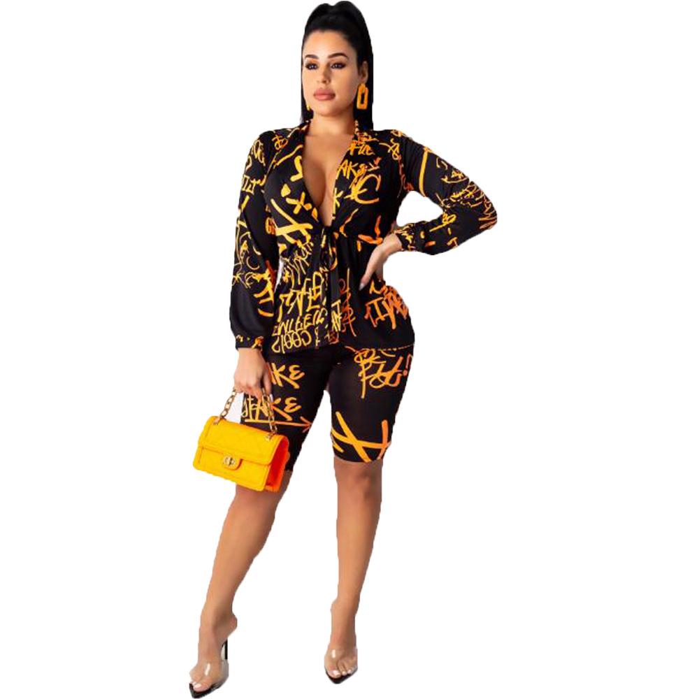Лидер продаж; Женский комплект 2 шт. с принтом; топ с v-образным вырезом и узкие брюки; Клубная одежда в богемном стиле; 5169(Китай)