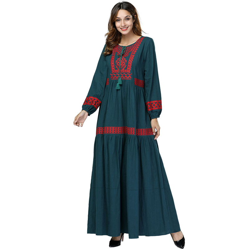 Dubai Muslim Cotton Embroidery Abaya Robe Women Boho Dress Jilbab Ramadan Gown