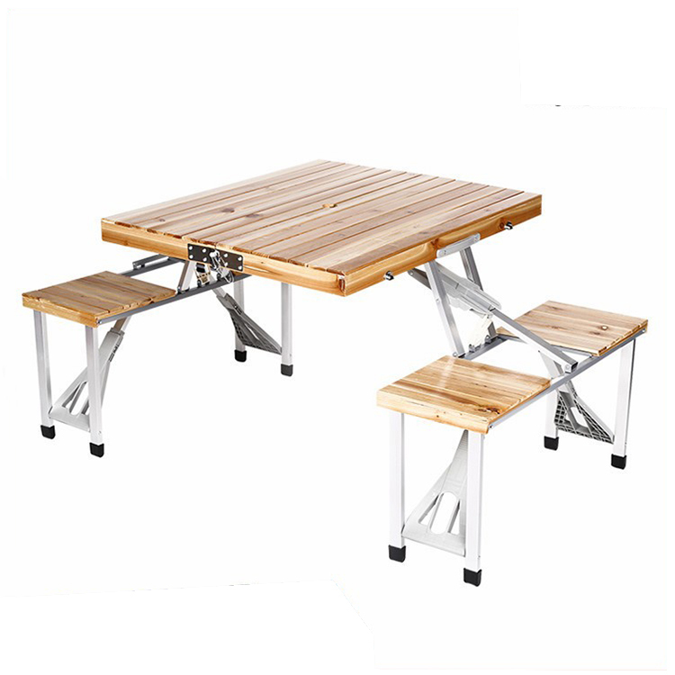 100% Test Trade Assurance Camping Folding Picnic Table And Chair Set Wooden Folding Lightweight Camping table