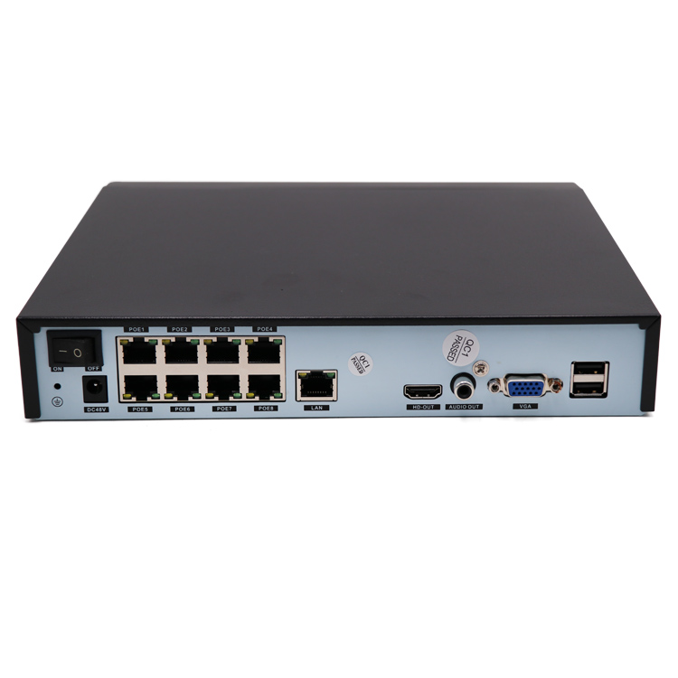 8*5M video input xmeye 8 channel POE NVR support 5MP IP POE camera with audio output