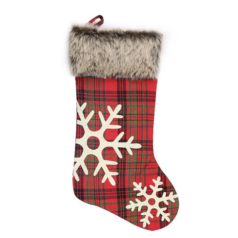 Christmas Small Bag for Gifts Customizable item burlap socks burlap socks Gift Bag Tartan Christmas socks Tree Decorations