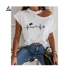 2021 summer fashion women casual love printed top off-shoulder short-sleeved t-shirt plus size women's clothing