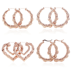 Rose Gold Earrings Different Earring Retro Punk Stainless Steel Rose Gold Plated Big Round Heart Bamboo Hoop Earrings