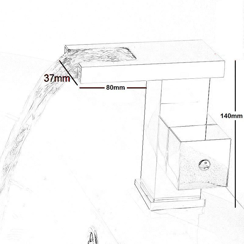 Латунный смеситель G018LED, кран для раковины, водопад, хромированная роспись, для ванной комнаты