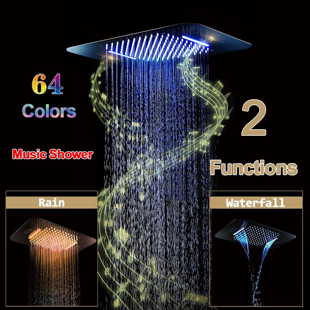 Music Shower System LED Luxury Rainfall Shower Faucet Set
