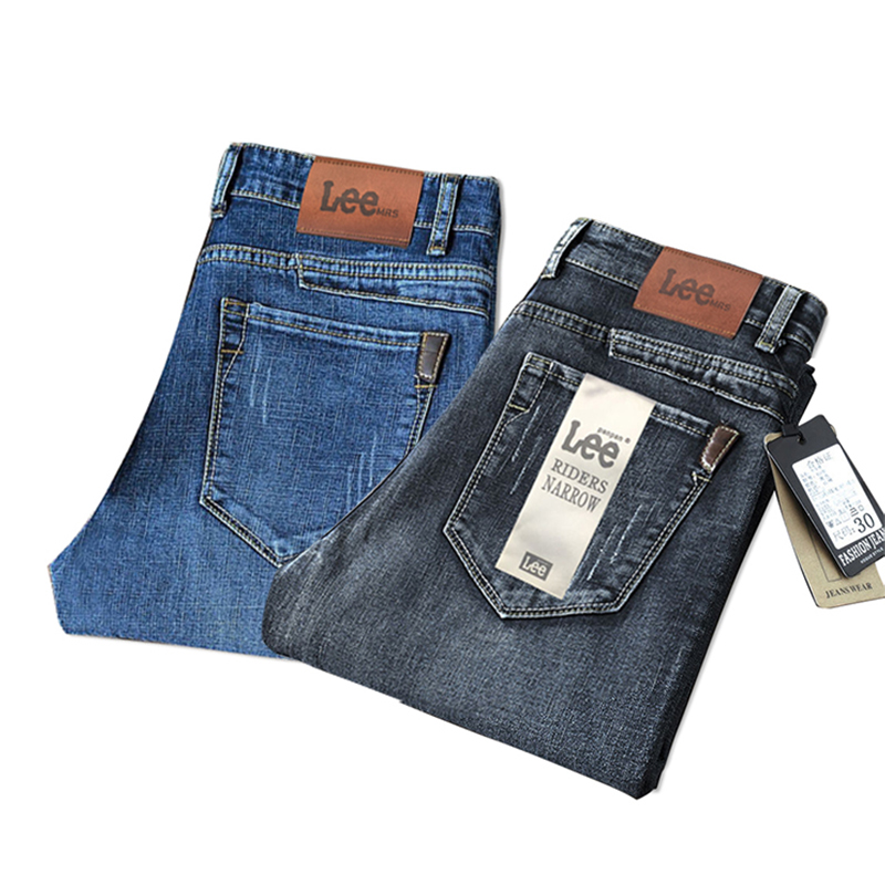 men loose fit jeans Straight pants Pattern Label Typesetting package Simple five-pocket style mens jeans
