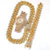square diamond set (8inch bracelet + 20inch necklace + watch)
