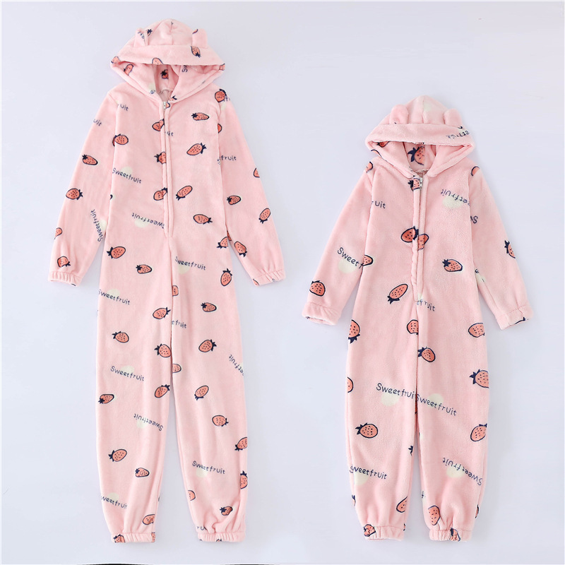 Plush thick plus size jumpsuit hooded pajamas parent-child home sleepwear
