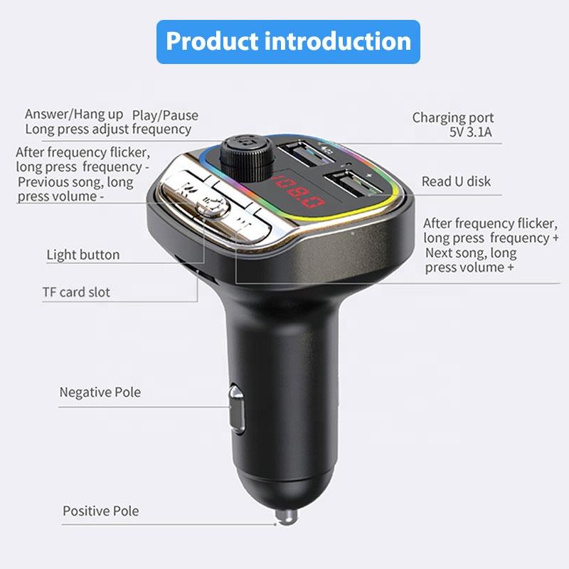 Новый Автомобильный MP3-плеер с цветным освещением и руководством пользователя, fm-передатчик в автомобиле, Поддержка U-диска, TF-карты