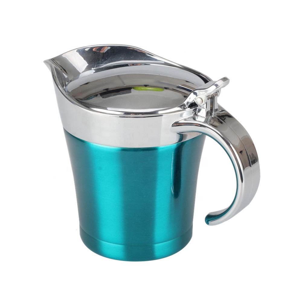 Stainless Steel Gravy Boat Sauce Jug - Double Wall Insulated Steak Sauce Pot with Hinged Lid for Thanksgiving Dinner (14 Ounce)