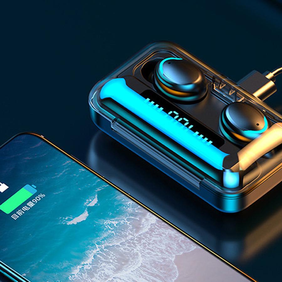 Dropshipping 2020 Hot selling wireless sound hifi earphones earbuds headphone headset 2 in 1tws amoi F9 with power bank - idealBuds Earphone | idealBuds.net