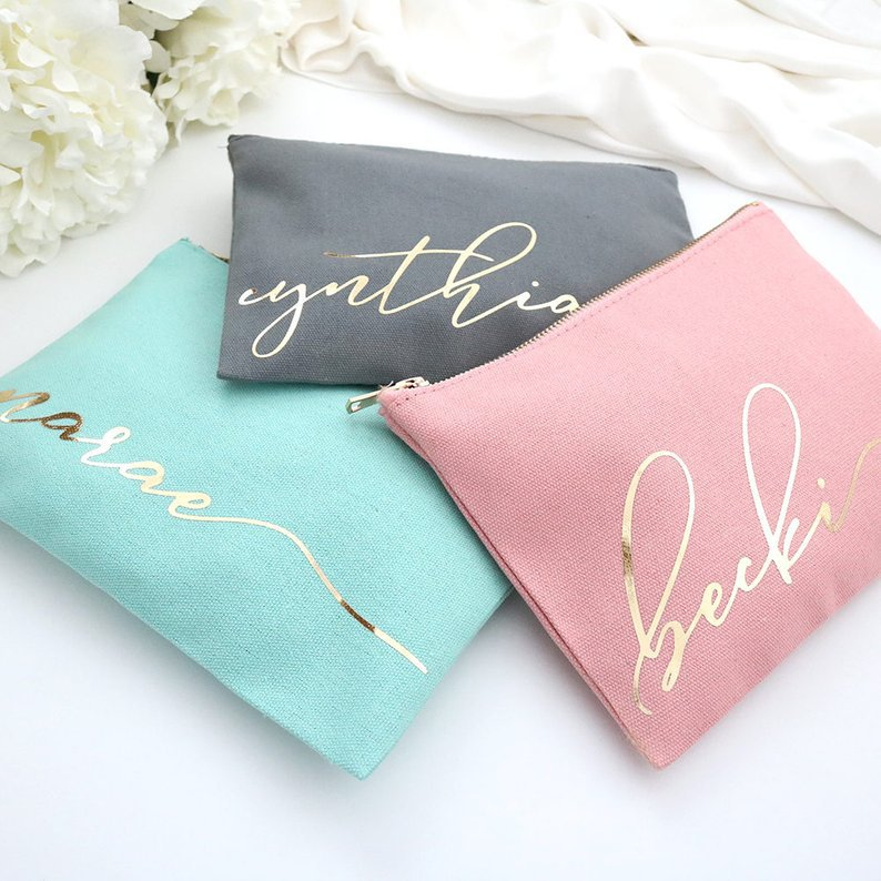 Gold hot stamping custom logo cotton canvas cosmetic gift bag for bridesmaid wedding guests makeup pouch