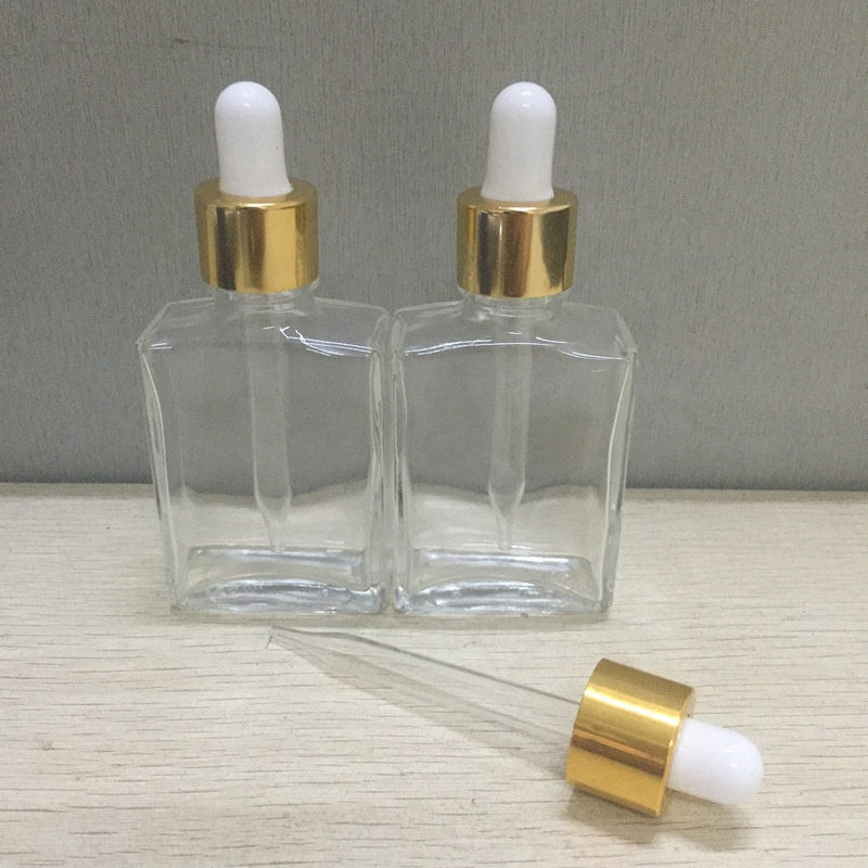 High-end square clear glass rectangle glass dropper bottles with gold - MrVaper.net