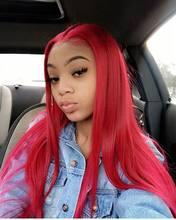 Remyblue 99J красные бордовые парики из человеческих волос на фронте шнурка для черных женщин парик на фронте шнурка 13X4 Омбре перуанские человеч...(Китай)