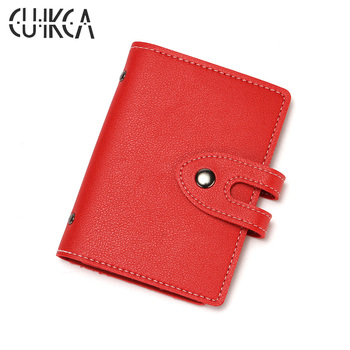 CUIKCA Card & ID Holders PU Leather Hasp Slim Wallet 20PCS Business License Card Case ID & Credit Card Holders 4 Colors