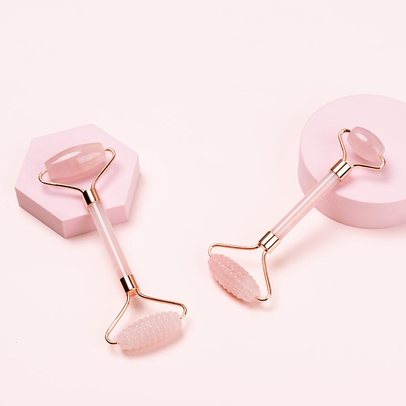 oem logo cosmetics beauty eye face massage real natural stone rose quartz jade roller with box