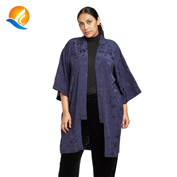 women plus size floral print poncho kimono solid color navy long vintage japanese style satin sheer kimono cardigan nightwear