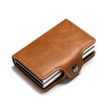 BISI GORO, двойные коробки, держатель для карт, черный, металлический, Анти Rfid, кошелек, кредитная идентификационная карточка, держатель для мужч...(Китай)