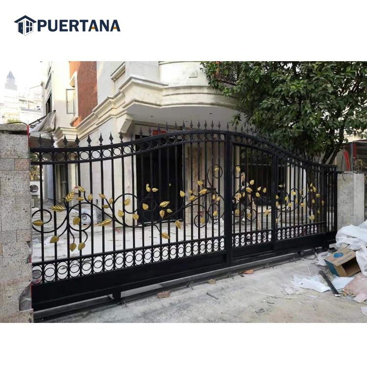 Большие кованые железные раздвижные ворота в итальянском стиле, распродажа