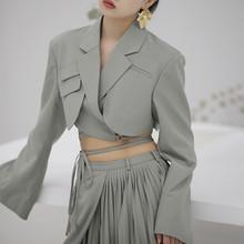 Женский Асимметричный Блейзер TWOTWINSTYLE, асимметричный приталенный укороченный блейзер с длинным рукавом, модная одежда(Китай)