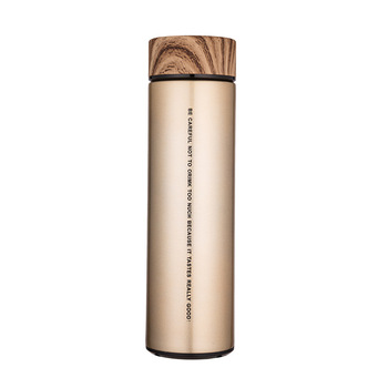 Business Men Portable Straight Stainless Steel Vacuum Car Wood Grain Board Cover Thermos Cup