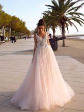 Кружевное свадебное платье трапециевидной формы с v-образным вырезом, бисером и открытой спиной, свадебные платья 2020, Vestido De Noiva(China)