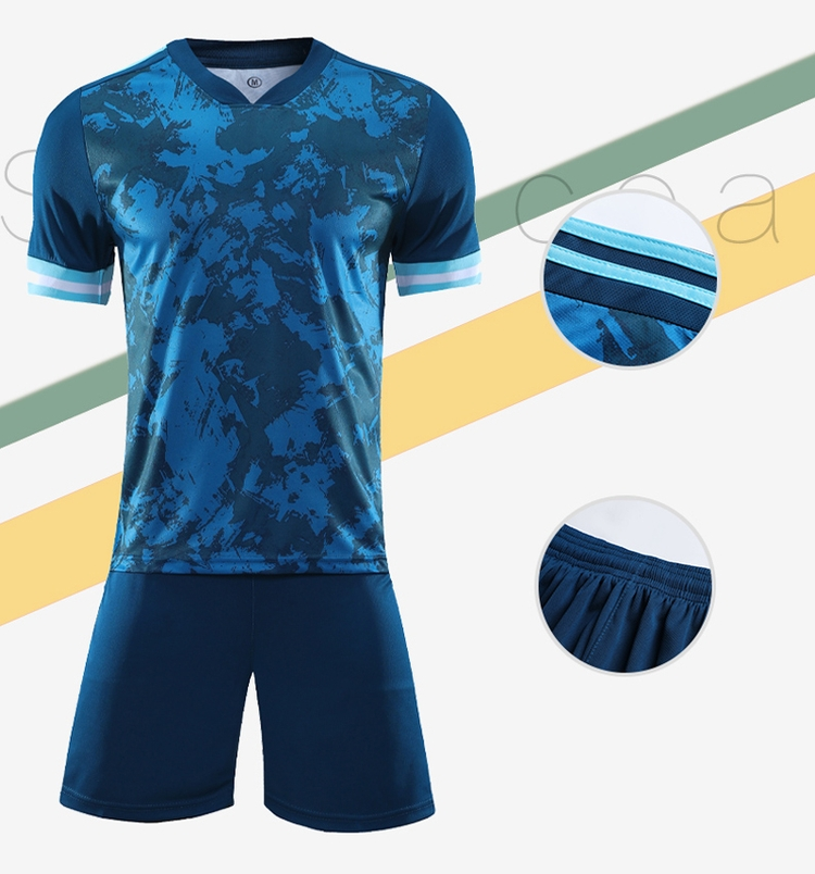 China factory seller hot sale blue custom training soccer jersey for adult
