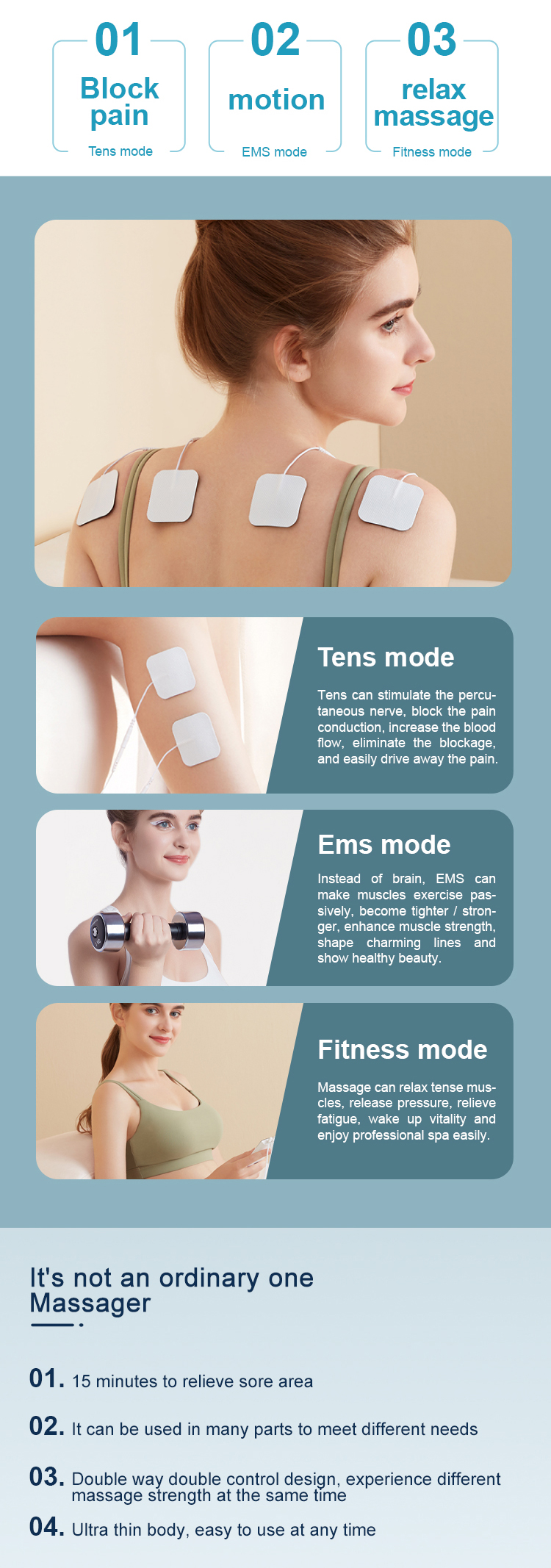 TENS+EMS+FITNESS  Unit Muscle Stimulator for Pain Relief & Arthritis & Muscle Strength