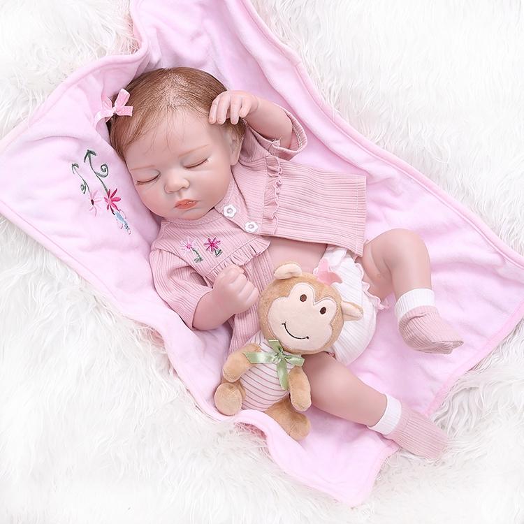 Реалистичный реборн NPK для новорожденных, 48 см, мягкий силиконовый полноразмерный реалистичный Спящий ребенок, анатомически правильный