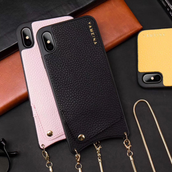 New PU leather phone chain case luxury Smart phone Cell Phone Case with Card bag chain Rope for IPhone 6 6s 7 8 Plus X Xr Xs Max