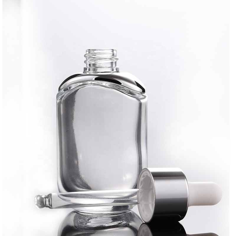 Thick Bottom Transparent 30ml Empty Glass Cosmetic Bottle Square Dropper Empty Essence Essential Oil Bottle