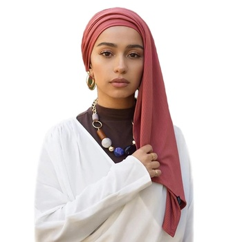 Hot Selling High Quality Ribbed Jersey Shawl for Muslim Women Head Ribbed Jersey Hijabs