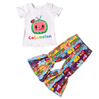 Summer Clothes Fashion Summer Kid Boutique Clothing Sets Ruffles Cartoon Cocomelon Baby Clothes