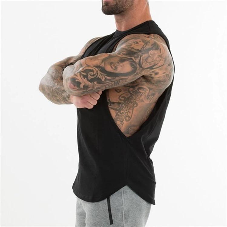 Wholesale custom sports men yoga gym weightlifting running drop armhole singlet tank top for men