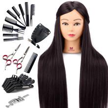 26 ''Длинные темно-коричневые волосы голова манекена для косметологии 30% настоящие человеческие волосы для причесок Профессиональные парикм...(Китай)